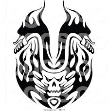 ferrari logo black and white vector skull and flames clipart 43