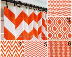 Geometric Orange Curtains Orange Window Curtains Red Orange Drapes Geometric