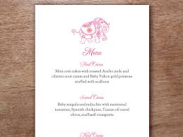 indian menu template pink indian elephant printable menu template wedding menu