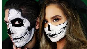 skull makeup tutorial halloween couples look youtube