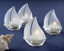 set sail frosted glass sailboat tealight holders set of 4