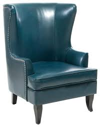leather chair covers wingback chair leather club chair teal blue contemporary