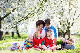 Kids Picnic Basket Family With Kids On Picnic In Spring Garden Stock Photo Image