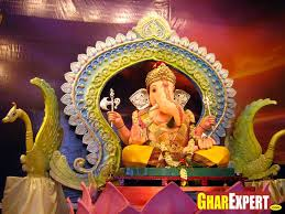 ganesh decoration with ornaments and other structural elements