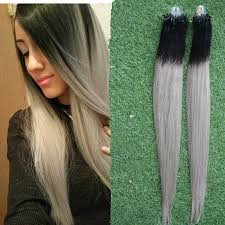 silver hair extensions silver gray hair extensions ombre micro loop hair extensions 100g