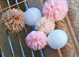 vintage pink champagne wedding tissue paper pom pom wedding