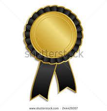 black and yellow ribbon gold black award rosette ribbon stock vector 244429357