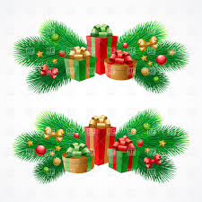 new year decorations gift boxes balls fir branches vector