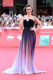 dress ombre purple red carpet dress make up strapless dress