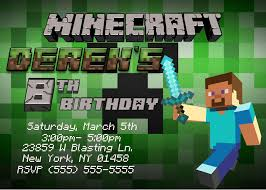 Unique Party Minecraft Birthday Party Invitations Theruntime Com