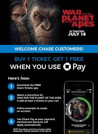 war for the planet of the apes buy one get one chase pay offer