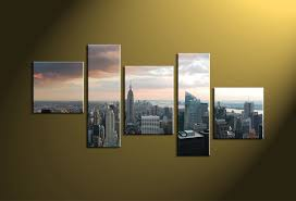city home decor 5 piece grey canvas city wall artwork