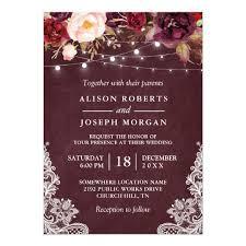 wedding invitations burgundy marsala burgundy floral lace string lights wedding card zazzle