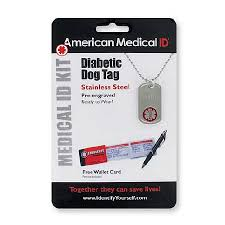 Engraved Dog Tag Necklace American Medical Id Diabetes Pre Engraved Dog Tag Necklace Walgreens