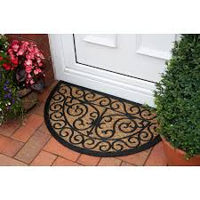 coco traditional coir and rubber semi circle doormat 18hm kukoon