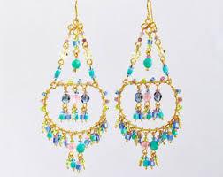 Chandelier Beaded Earrings White Bead Double Hoop Chandelier Earrings Big Statement Earrings
