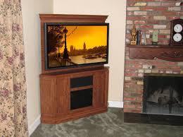 furniture oak corner sauder tv stand on cozy berber carpet and