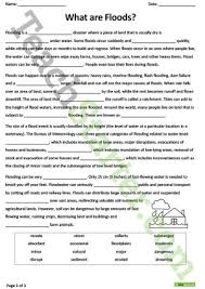what are floods cloze worksheet reading comprehension