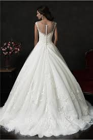 ball gown bateau illusion neckline sheer back tulle lace wedding dress