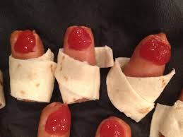 halloween party funny funny toes mini sausage ketchup wrapped in tortilla strips
