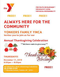 yonkers family ymca annual thanksgiving celebration this thursday