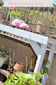 gardening bench painted garden bench with dark stain and blue paint