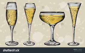 vintage champagne glasses vector illustration champagne glasses shapes vintage stock vector