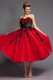 cezom black and red wedding dresses short tulle lace mid calf