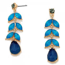 blue opal montana blue floral leaf gemstone opal statement earrings