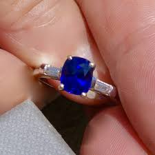 grandidierite engagement ring true blue ceylon sapphire ring platinum and diamond mounting