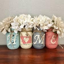 aqua grey and coral montana home mason jar set rustic home
