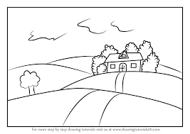 drawing a house learn how to draw a house on fields of grass scenes step by step