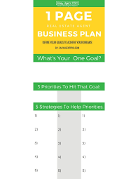 real estate business plan template the one page real estate
