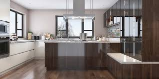white gloss kitchen floor cupboard wood brown high gloss uv lacquer kitchen cabinet op19 l09