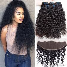 Pre Curled Hair Extensions by Wet And Wavy Brazilian Human Hair 4 Bundles With Closure Pre