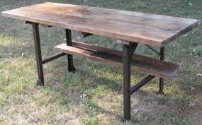 Industrial Work Table by Walker Antiques Industrial Work Table With Metal Legs And Pine