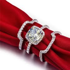 diamond wedding ring sets for top luxury 3 carat sona diamond engagement ring set best quality