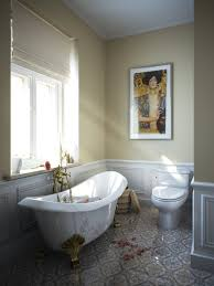 frantic interior of eclectic bathroom with unique bathtub also
