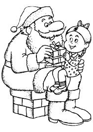 coloriage père noël avec une petite fille