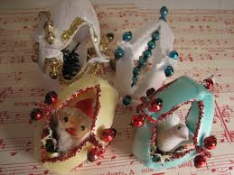 vintage handmade styrofoam egg ornaments with glass