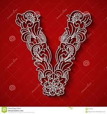paper cutting white letter v background floral ornament