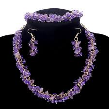 purple stone necklace set images Hot sale statement jewelry set purple natural stone chunky jpg