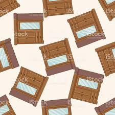 Furniture Theme Furniture Theme Cabinet Cartoon Seamless Pattern Background Stock