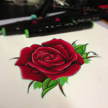 semi realistic rose tattoo design by jakeshunt on deviantart