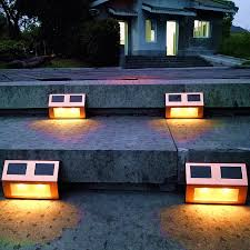 Solar Patio Lights Amazon by Amazon Com Solar Light Deck Lights Outdoor Stair Step Lamp