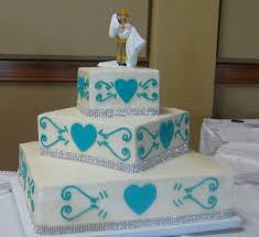 sweet t s cake design teal hearts sparkling bling wedding cake