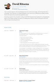 Web Developer Resume Examples by Application Developer Resume Samples Visualcv Resume Samples