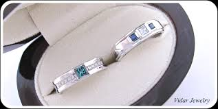 Engagement Wedding Ring Sets by His And Her Matching Blue Diamond Blue Sapphire Wedding Band Set