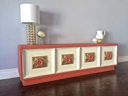 Upcycled Console Table Shabby Chic Coral Cream U0026 Gold Leaf Tv Stand Console Table