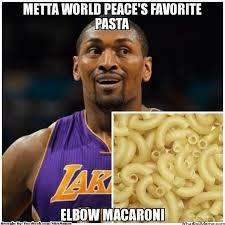 Metta World Peace Meme - nba meme team on twitter elbow macaroni from metta world peace